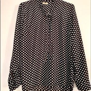 Black & White polka dot blouse with neck tie